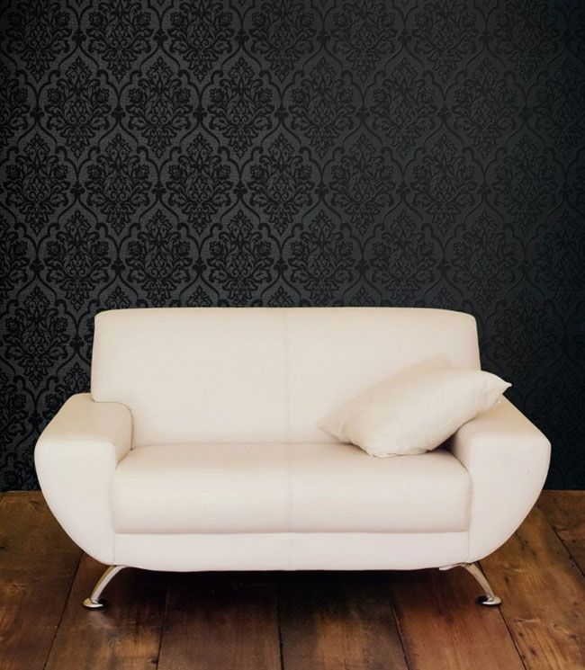 Black Damask On Darky Grey Accent Wall Behind Couch Note