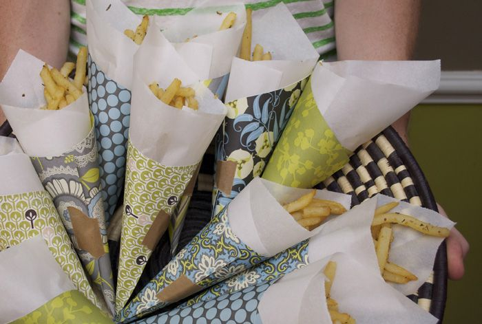 Rosemary-Garlic Fries and DIY Fry Cones  #collectandcarry