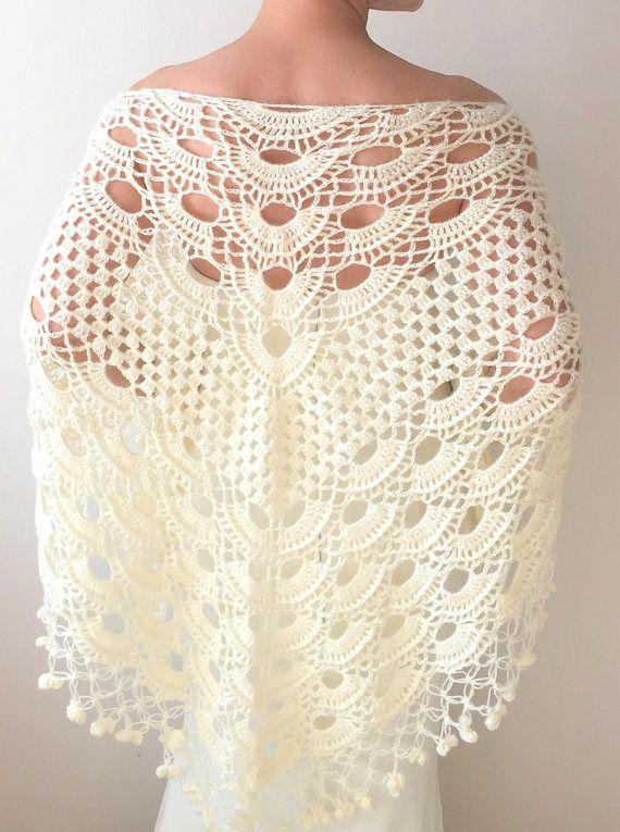 Cream mohair shawl, ivory wedding shawl, bridal shawl, crochet ...