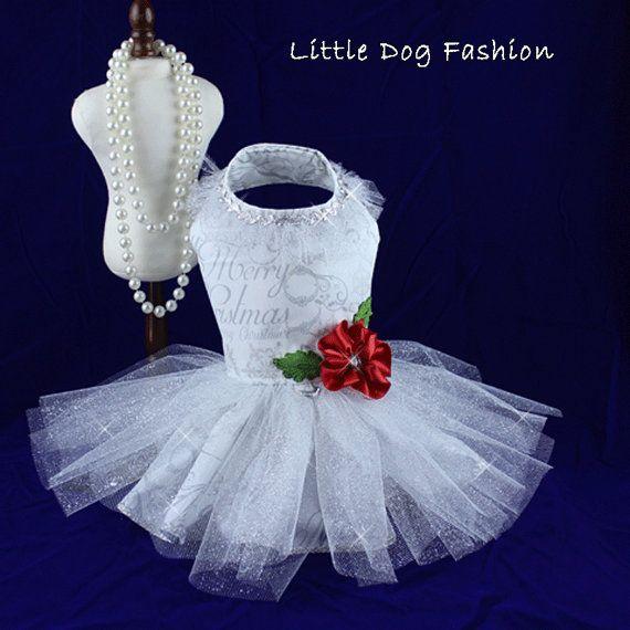 Dog Dress Dog harness Dress Christmas Dress by LittleDogFashion