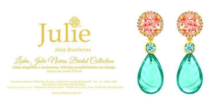 Brincos em ouro 750/18k, turmalina e água-marinha (750/18k gold dangling earrings with tourmaline and acquamarine)
