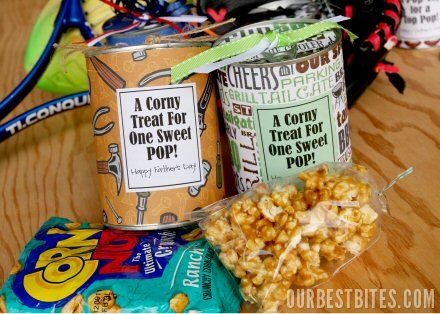Tin Can Corny Treats - package up some popcorn in a tin can with an adorable label.