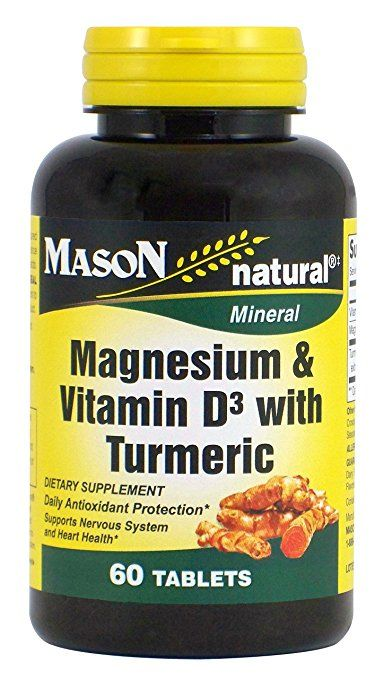 Mason Natural Magnesium and Vitamin D3 with Turmeric Tablets, 60 Count