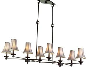Kalco Charlestowne 8-Light Island Chandelier 4838B/S46 Select from Kalco finish options. Price varies depending on finish and whether shades are selected.  Ideal for a rectangular Table, the eye-catching Charlestowne chandelier is the perfect choice for rustic settings.  Art Deco, Art Nouveau, Rustic & Eclectic Pool table & Island Lights - Brand Lighting Discount Lighting - Call Brand Lighting Sales 800-585-1285 to ask for your best price!