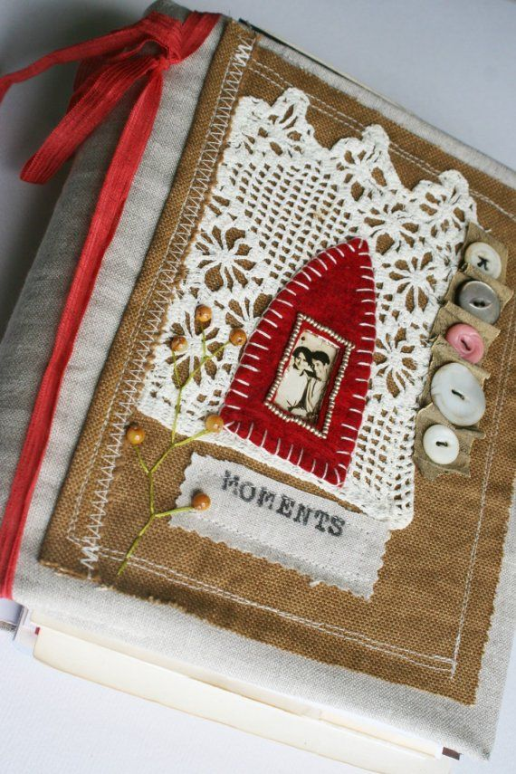 fabric book cover by Rebecca Sower - Art Quilt Journal: Moments