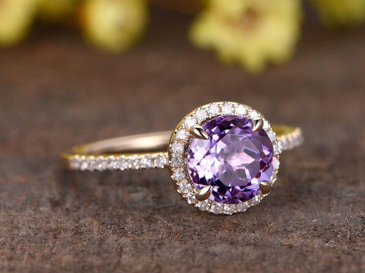 Amethyst Engagement Ring Diamond 14k Rose Gold Round Purple February Birthstone Promise Ring