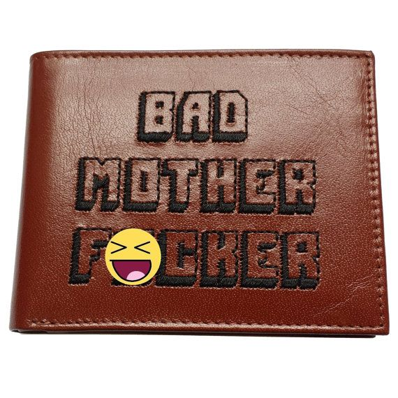 Bad Mother F_cker Embroidered Brown Leather Wallet Pulp Fiction Jules Winnfield Mofo Movie Quentin Tarantino Samuel L Jackson F