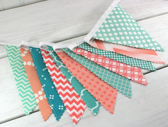 Bunting, Fabric Banner, Fabric Flags, Baby Girl Nursery Decor, Pennant, Garland - Mint Green, Teal, Peach, Turquoise, Coral Pink, Chevron