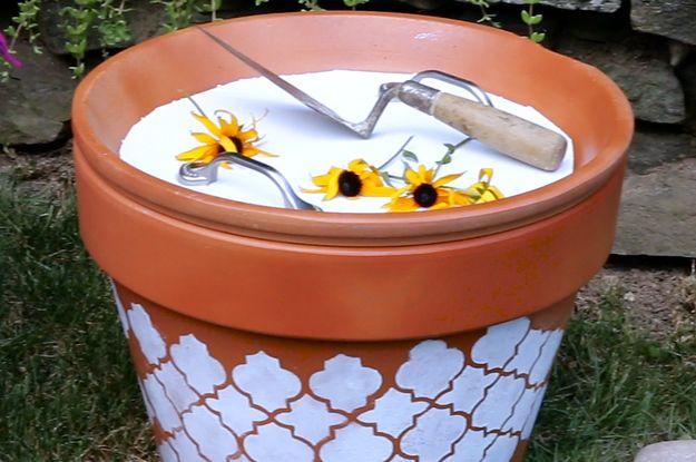 These DIY Terra-Cotta Bins Keep Outdoor Essentials Neatly Stowed