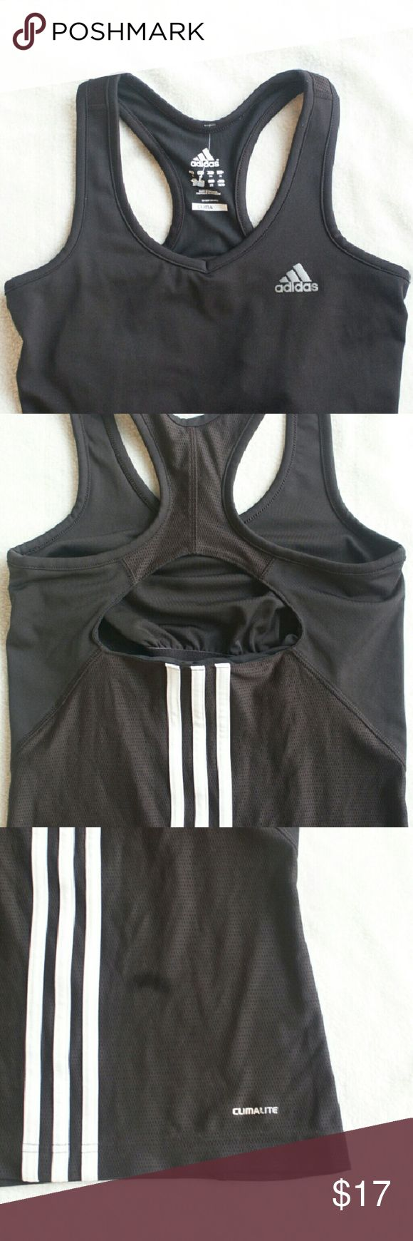 Adidas B&W Climalite Tank Tank top is in very good condition + Has Inner Bra Lining + Very Cute Cutout Back adidas Tops Tank Tops