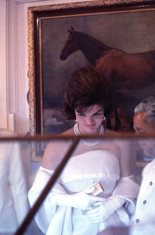 """"""" Jackie Kennedy photographed by Arthur Rickerby in a gown and pearls while visiting India in March of 1962. """""""