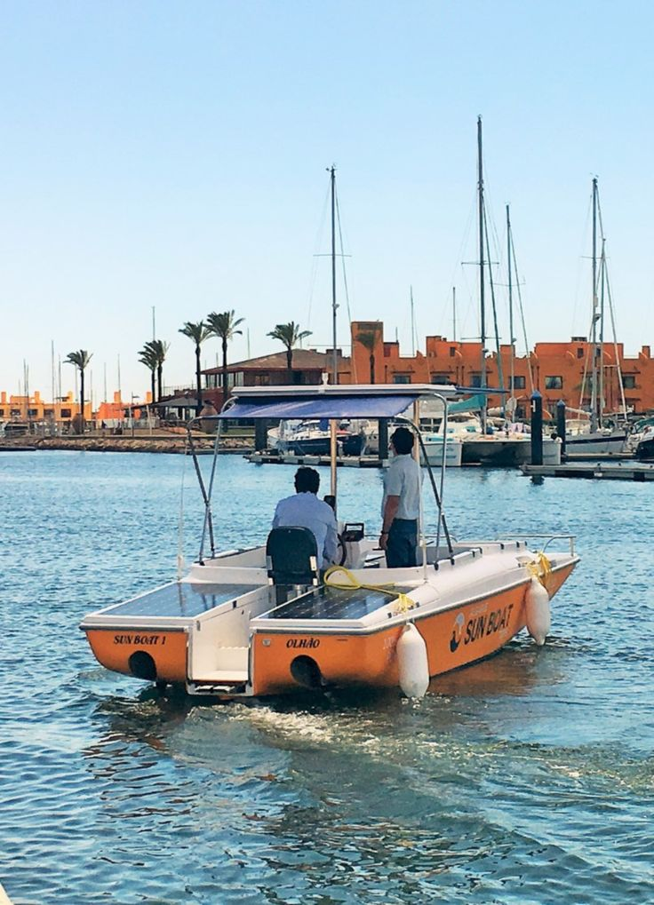 Our solar boat on the Marina of Portimão.  Please contact us if you wish to go on a solar boat tour on the Arade River!  www.algarvesunboat.com  #solarboat #boattours #boattrips #portimao #praiadarocha #araderiver