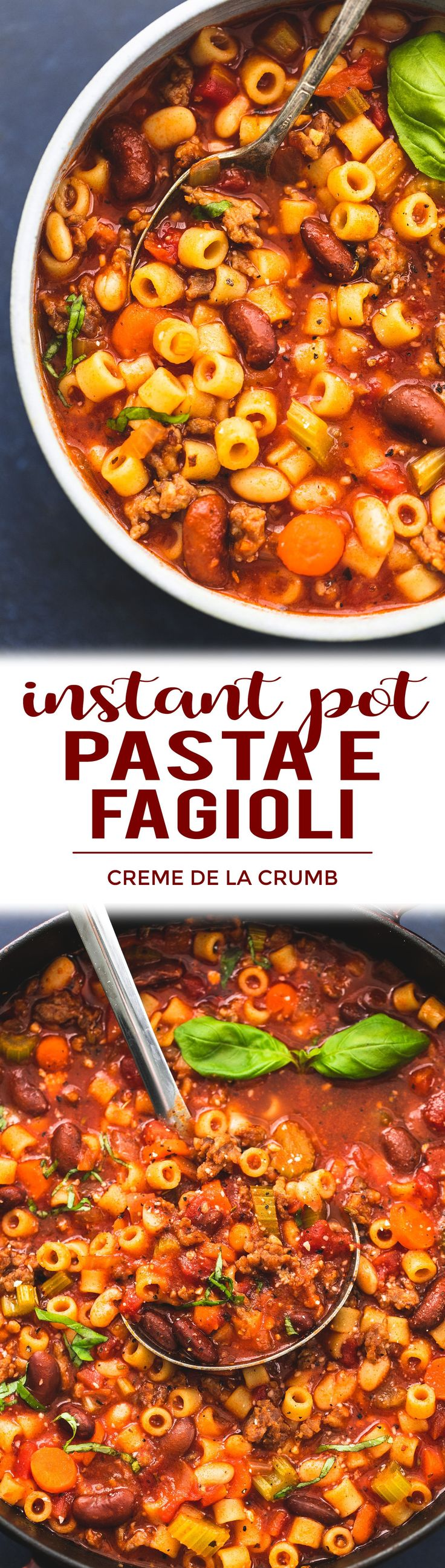 Easy Instant Pot OR Slow Cooker Instant Pot Pasta e Fagioli soup recipe | lecremedelacrumb.com