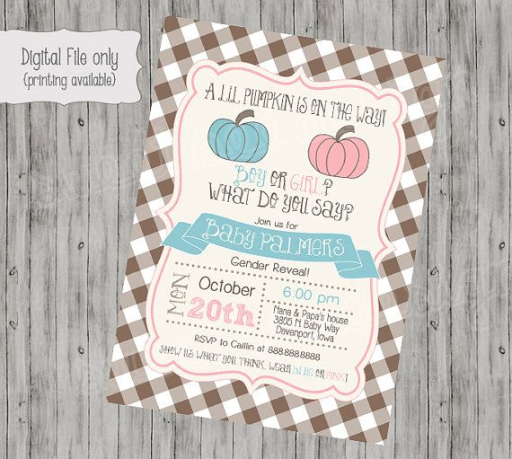 All information including color, text and font can be changed and customized for you.  This listing is for a 4x6 or 5x7 Gender Reveal shower