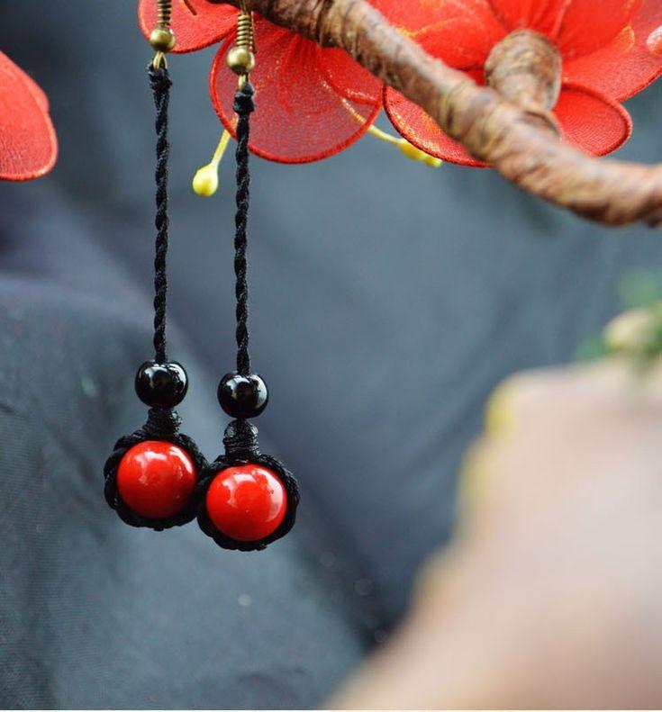 women ethnic earrings fashion red coral earrings,newchinese wind  vintage dangle earrings long-in Drop Earrings from Jewelry & Accessories on Aliexpress.com   Alibaba Group