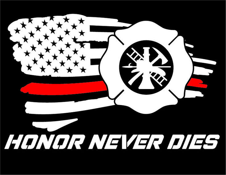 American Flag Red Line Firefighter Vinyl Decal window