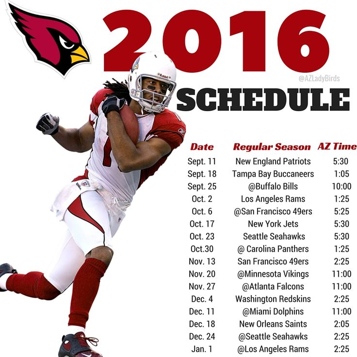 Arizona Cardinals 2016 Season schedule with Larry Fitzgerald. #BirdGang #AZLadyBirds https://www.facebook.com/AZLadyBirds/ Are you ready for some football? NFL