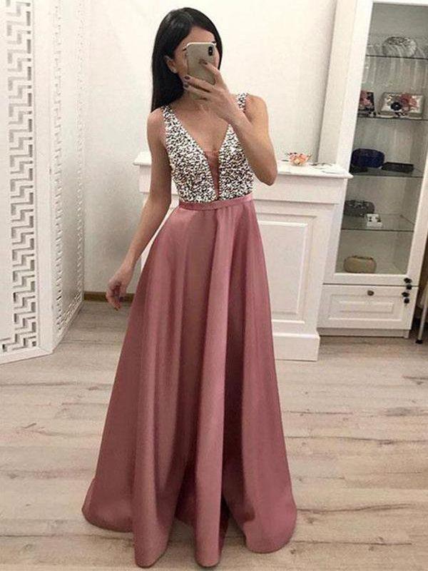 Herrlich Rosa Satin V-Ausschnitt Strasssteinen Ballkleider Abendkleid Partykleider