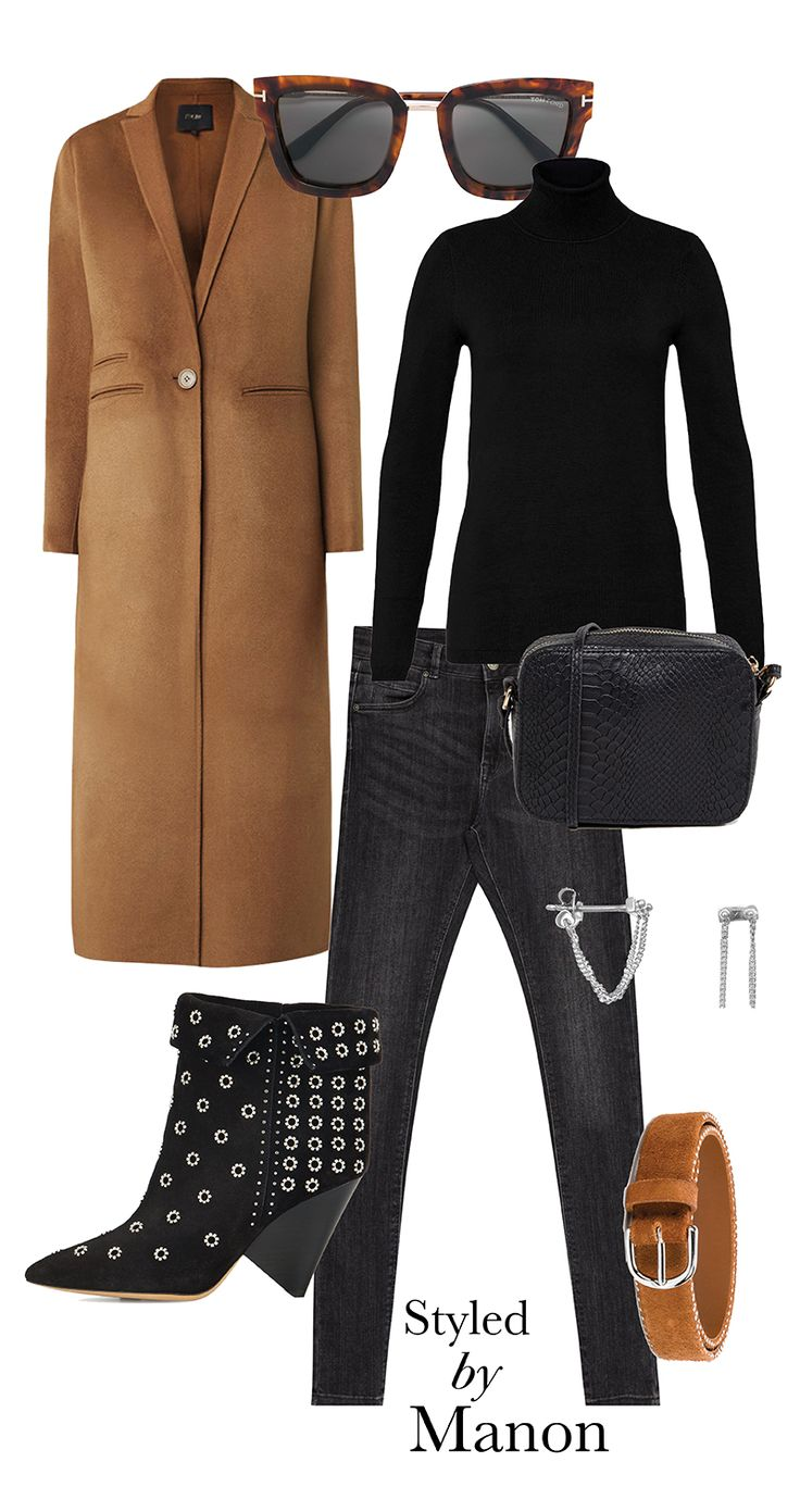 Lakky duede ankle boots, body curve jeans, buckle belt, black  turtleneck & cross body bag and long coat - Styled By Manon