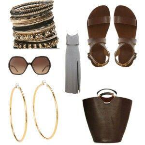 Gray dress sunglasses summer louis vuitton bag bracelets sandals big gold earrings