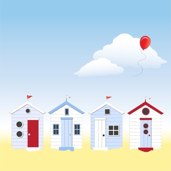 iCLIPART - A row of beach huts against blue sky and sand with balloon floating in sky.