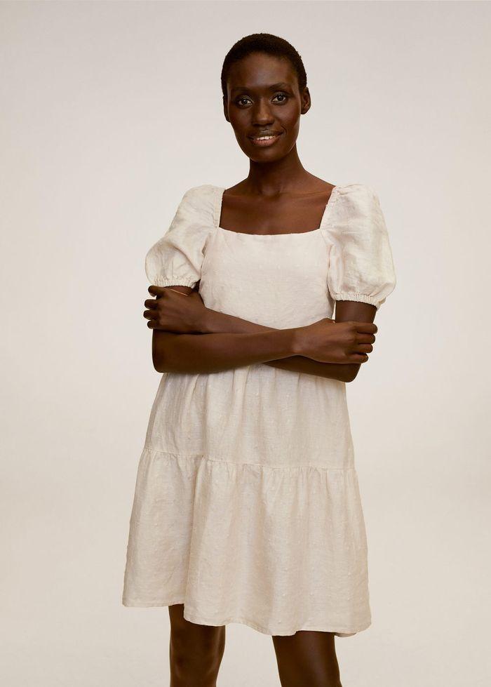Women mini ruffled linen dress without sleeves