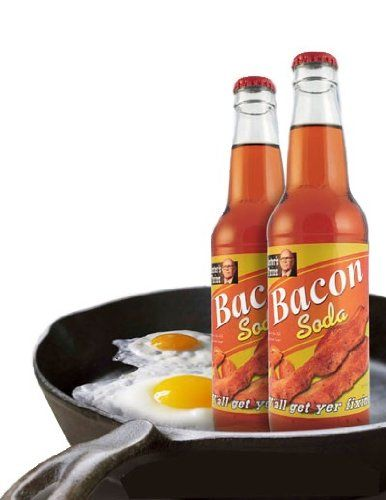 "Bacon Soda - It's liquid, carbonated, a little sweet, and tastes like bacon! Forget those fruity sodas. We bring you a meat soda: Bacon Soda! And you're thinking, ""That's just pure madness!"" But no, it's really not. It's genius, Genius, we tell ya! Pure mad genius! Ah hahaha! Whoa, did we just see a flash of lightning? Odd."