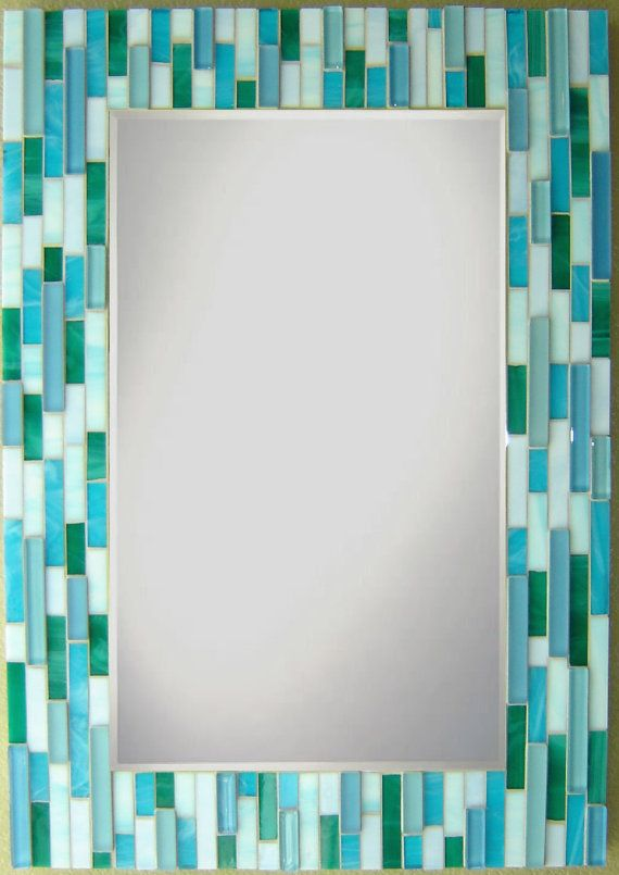 Captivating Mosaic Wall Mirror Teal Aqua Blue Pale Periwinkle By Opusmosaics, $309.00