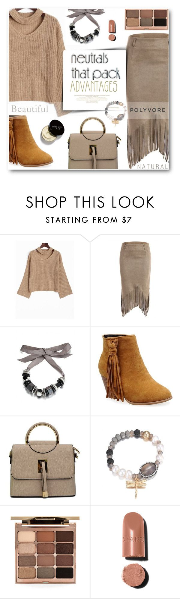 """2. Cool neutrals"" by wannanna ❤ liked on Polyvore featuring Stila, Chanel, Bobbi Brown Cosmetics, bag, neutrals, jumper and fringeskirt"