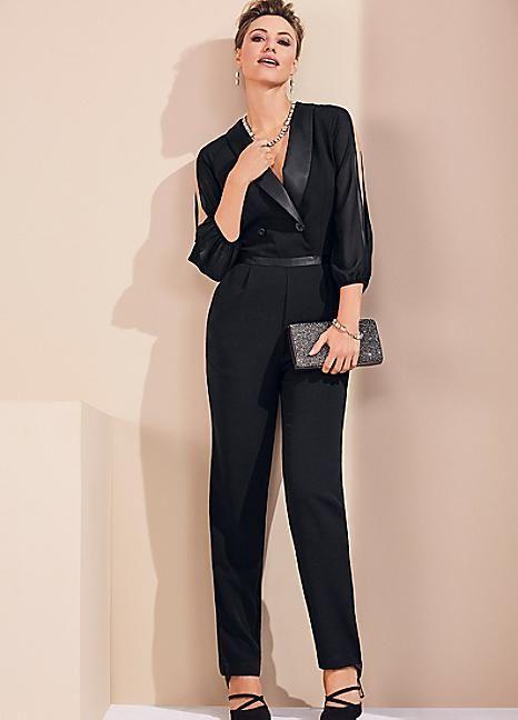 Tuxedo Style Tailored Jumpsuit