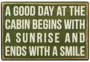 A Good Day At The Cabin Quote Handpainted Wood Sign Lake Cottage Decor Wall Hanging Art Green. $25.00, via Etsy.