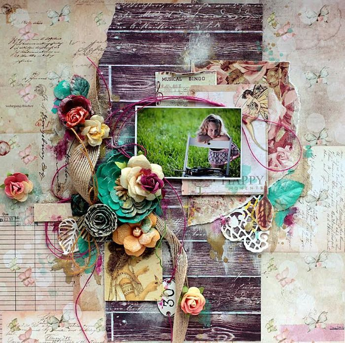Olena Olinevich used the PPP for this June 2015 Challenge from Prima and created this beautiful page. - Wendy Schultz ~ Prima Projects.