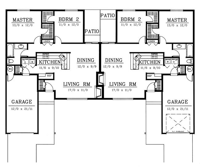 Ranch Traditional Multi Family Plan 91615 Traditional