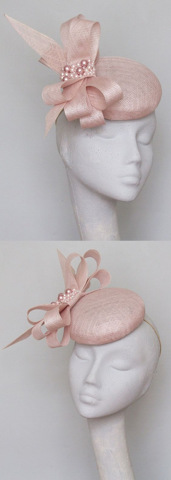 Pastel Pink Smartie Percher Headpiece Hatinator Fascinator with Swarovski Pearls, for Kentucky Derby, Del Mar, Epsom, Royal Ascot. Gold Lace Veiled Floral Fascinator for Racing Day at the Races, Dubai World Cup racing fashion inspiration. Spring wedding outfits, Mother of the bride. #kentuckyderby #royalascot #fascinators #springwedding #weddingguest  #millinery #weddings #derbyoutfits #racingfashion #ascothats #derbyhats #handmadeonetsy #affiliatelink #handmadeisbest #swarovski…