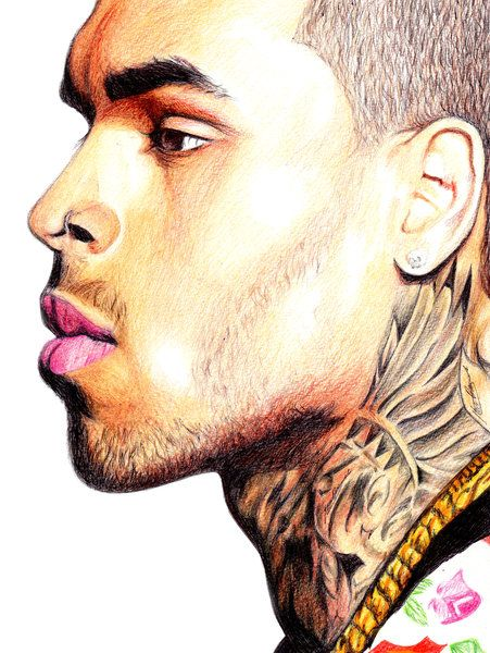 Chris Brown Portrait Print For Sale #TeamBreezy #Breezy #Illustration #drawing #art #music #tattoo #selling