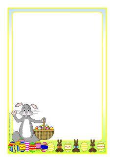 Easter bunny A4 page borders (SB7646) - SparkleBox