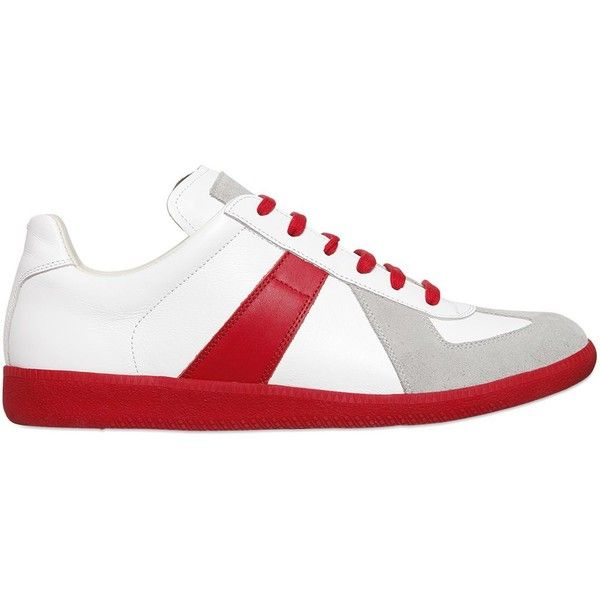 Maison Margiela Men Leather & Suede 70's Tennis Sneakers ($285) ❤ liked on Polyvore featuring men's fashion, men's shoes, men's sneakers, mens red shoes, mens shoes, mens red suede shoes, mens leather shoes and mens leather tennis shoes