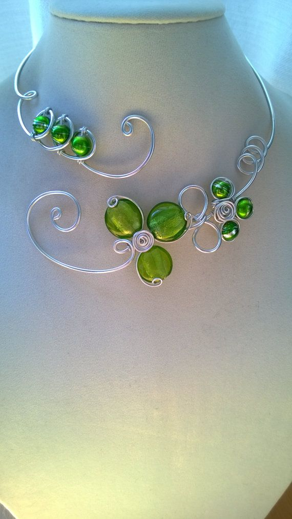 Aluminium wire necklace  FREE EARRINGS  by LesBijouxLibellule