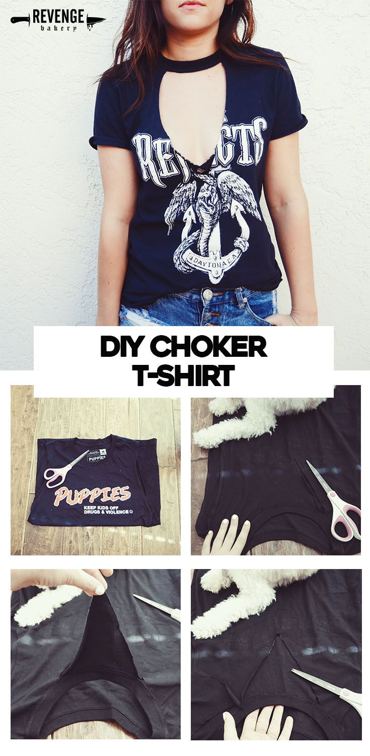 Black t shirt v shape - Diy Cutout Choker T Shirt