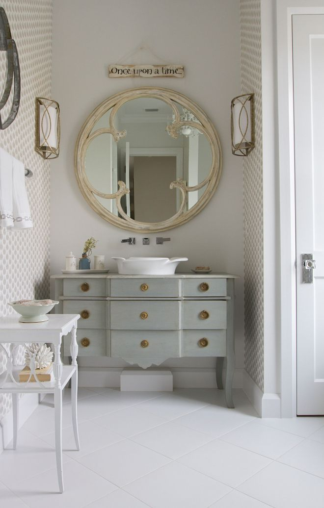 Bathroom. Antiques in Bathroom. A fairy tale bathroom perfectly appointed with antique vintage finds. Heritage Homes of Jacksonville. Villa Decor & Design. #bathroom #antiques