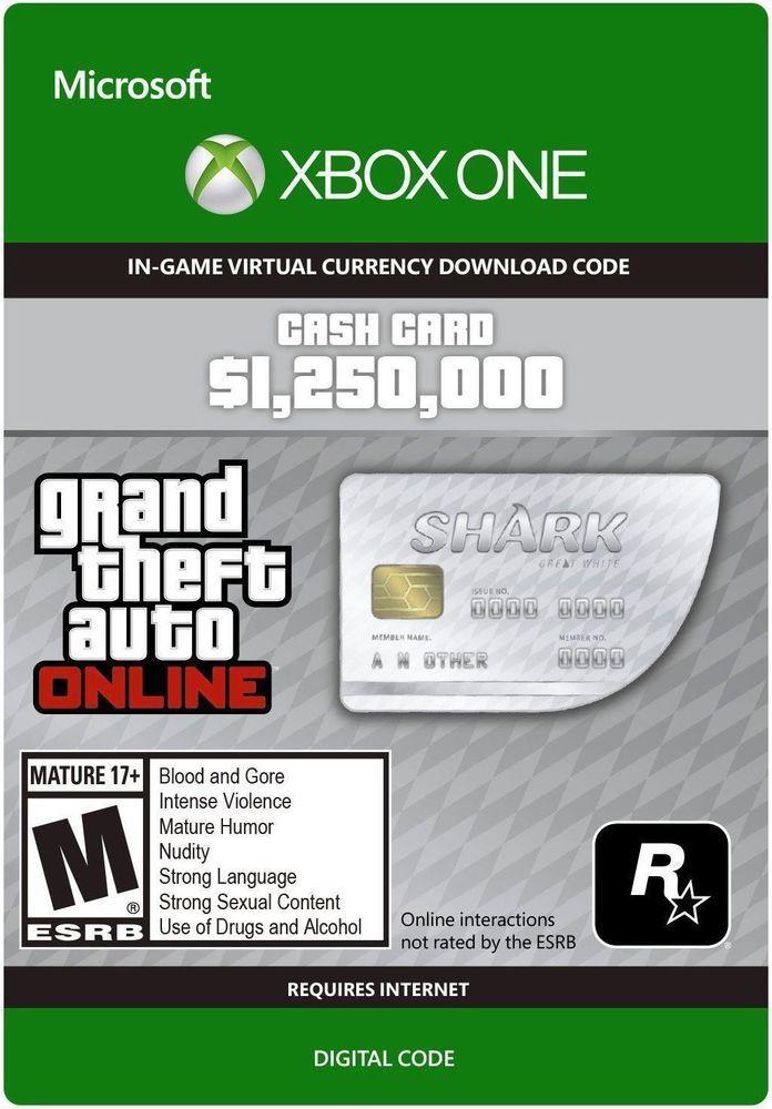 1 250 000$ Grand Theft Auto In-Game GTA Dollars Great White Shark Digital Code | eBay 19,99$ FREE SHIPPING Xbox One http://ebay.to/2nyFs5R #ebay #GTA5 #GTAV #XboxOne #gaming #game #gamer