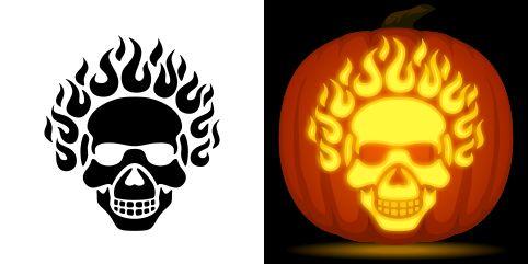 Flaming skull pumpkin carving stencil free pdf pattern to for Free skull pumpkin carving patterns