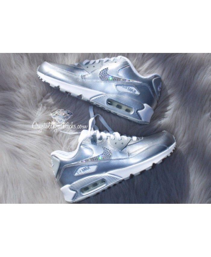 grande vente 09716 8198d Nike Air Max 90 Silver Made with SWAROVSKI® Crystals - Blanc ...