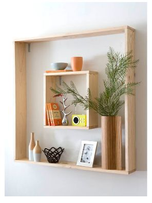 DIY wall frame/shelf + copper vase