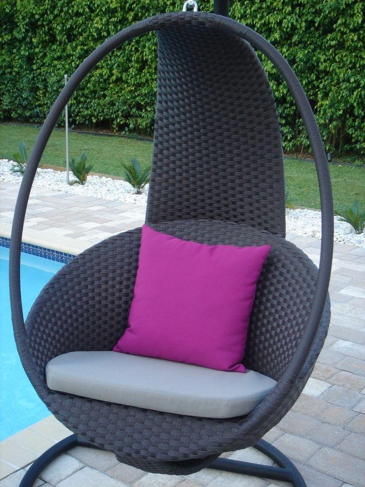 Modern Rattan Effect Swinging Egg Chair Garden Furniture | Modern