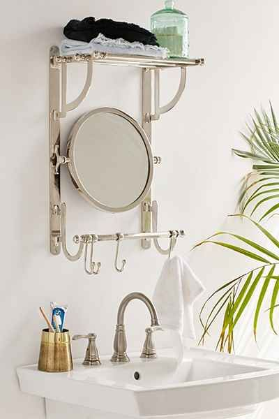 Support à rails pour serviette et miroir