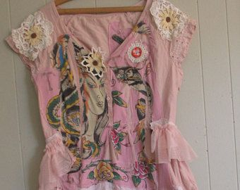 fabric collage clothing skirt Wearable Folk Art Eclectic