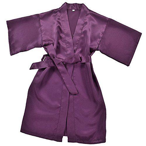 #Joytton #Mädchen #kurze #Satin #Kimono #Robe mit #besticktem #Flower #Girl…