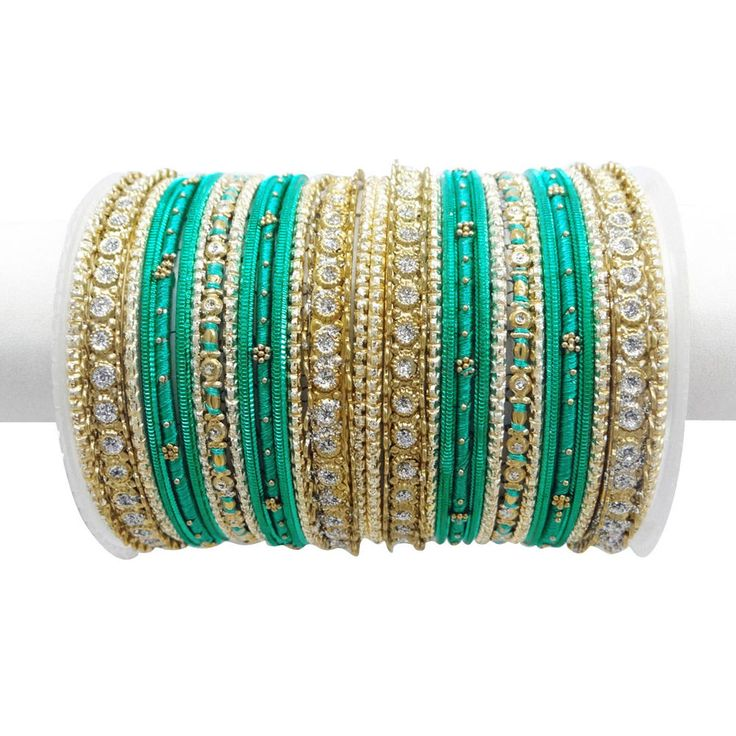 Turquoise Green Thread Gold Tone Party Bangle Set India Women Kangan Jewelry 2*8 #iba