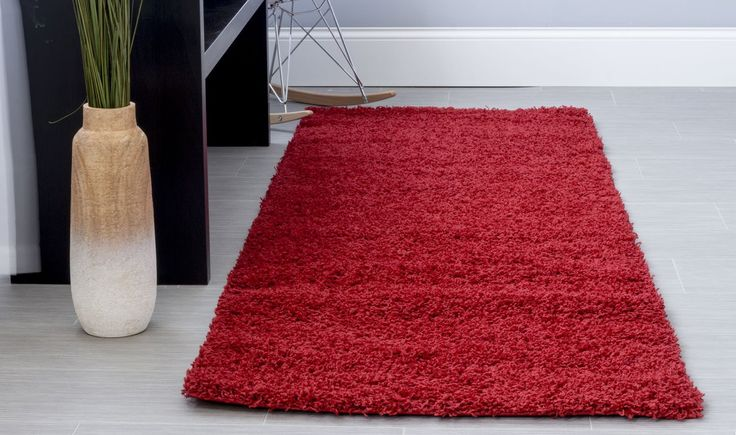 Cozy and Thick Red Shag Rug